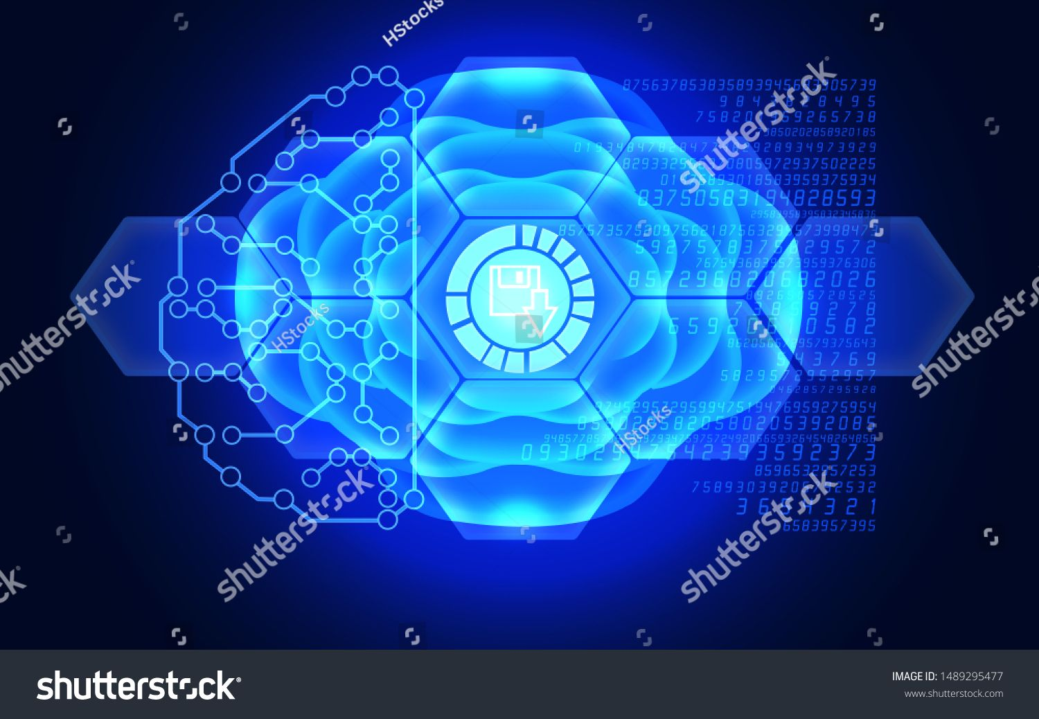 Download symbol is reflecting over 3D futuristic electronic circuit in a brain model Business finance technology and money concepts over futuristic electronic circuit 3D...