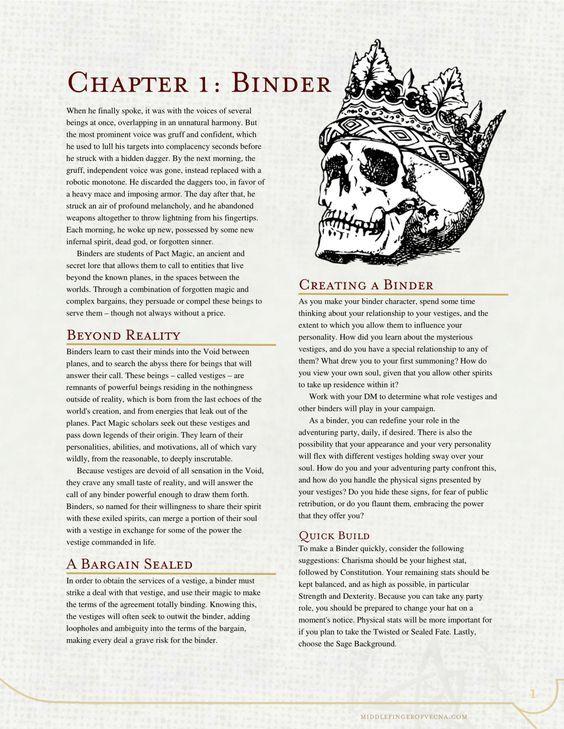 DnD 5e Homebrew — Binder Class by The Middlefinger of Vecna