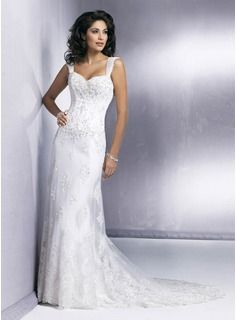 Sheath/Column Sweetheart Chapel Train Satin  Tulle Wedding Dresses With Lace  Beadwork (002011465)