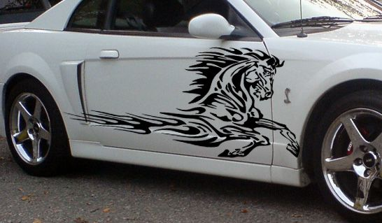 Flaming Horse Side Graphics Decals Fits Trailers Trucks
