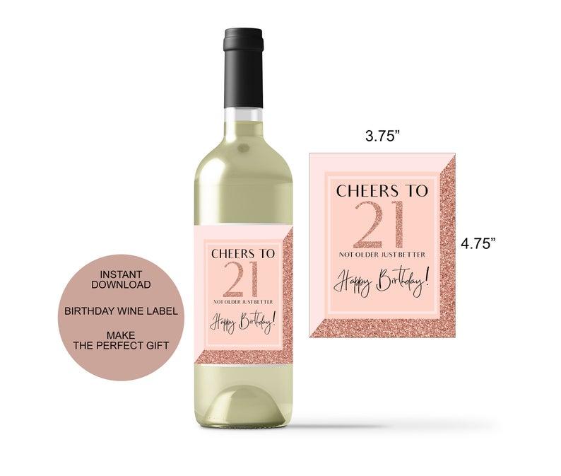 21st Birthday Wine Bottle Label Wine Label Stickers Party Etsy Birthday Wine Bottles Wine Label Stickers Birthday Wine Bottle Labels