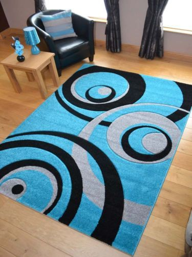 New Small Extra Large Turquoise Blue And Black Thick Hand Carved Floor Rugs Rug Ebay Rugs Floor Rugs Contemporary Area Rugs