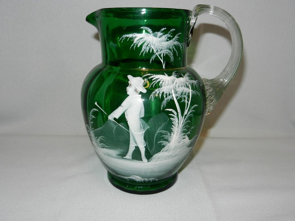 Antique green mary gregory style victorian glass pitcher from antique green mary gregory style victorian glass pitcher from bohemia reviewsmspy