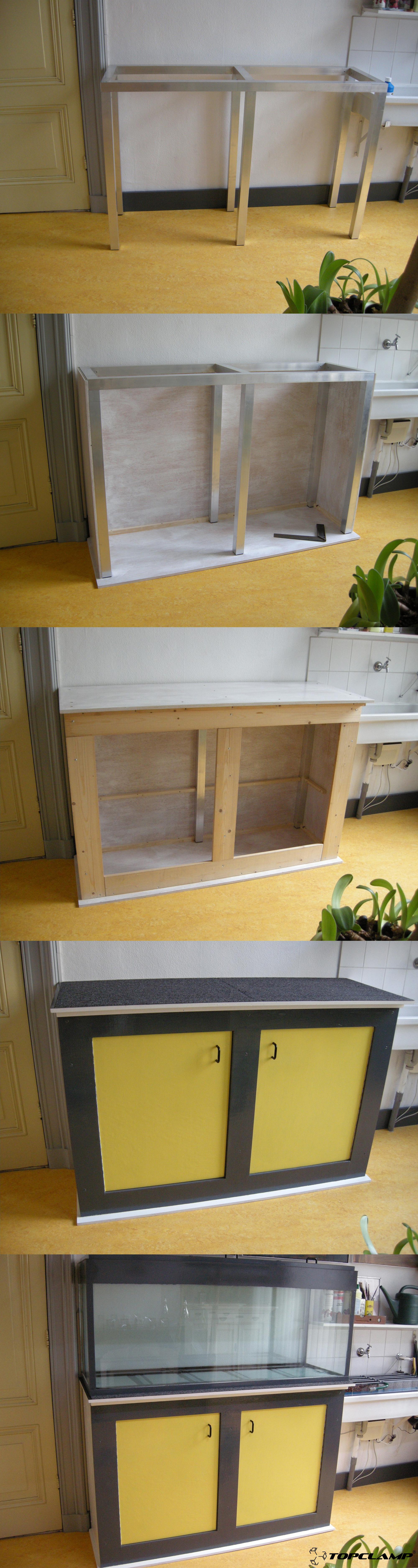 DIY creative cabinet aquarium frame made with the Topclamp