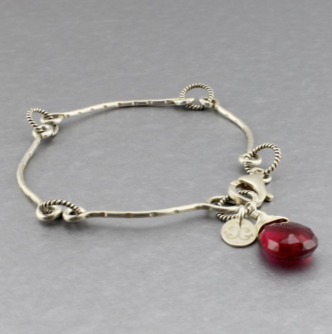 Sterling Silver Wire Made Stacking Bangle Bracelet w. Red Stone ...