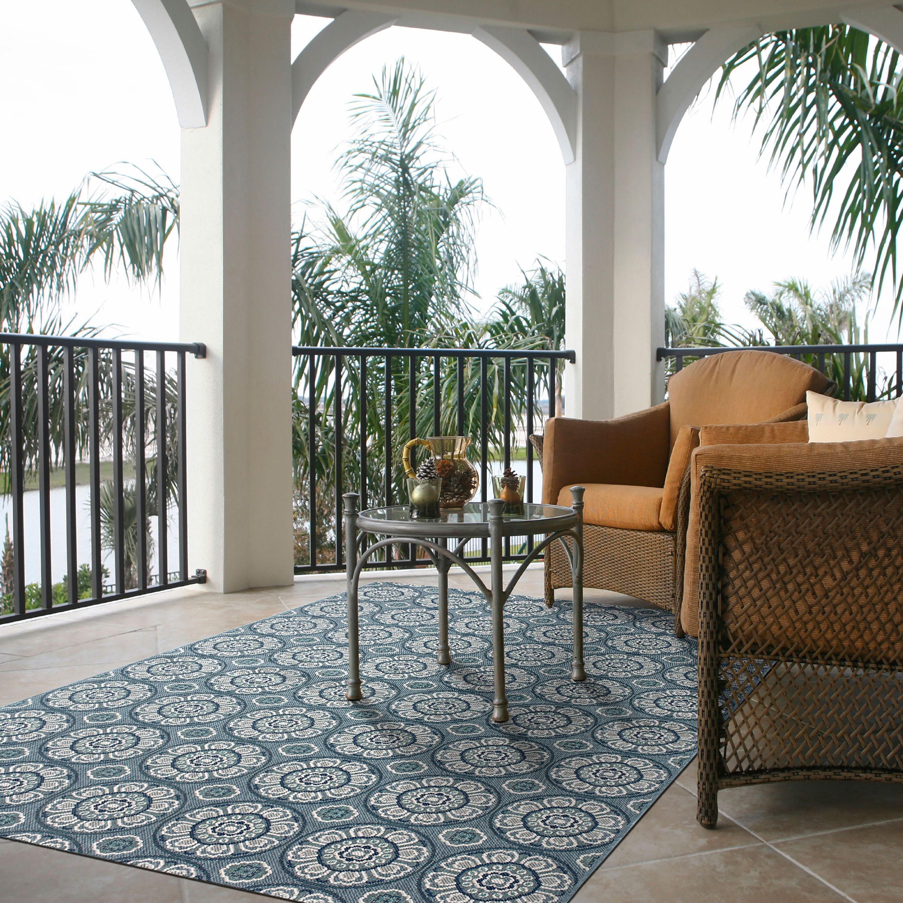Signature Home Creighton Blue Polypropylene Area Rug 7 10x10 7 10 X 10 Blue 7 10 X 10 Outdoor Rugs Indoor Outdoor Area Rugs Outdoor Area Rugs