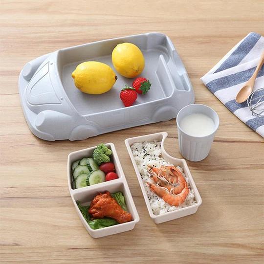 Children S Car Tableware Set In 2020 Microwavable Lunch Tableware Set Portable Food