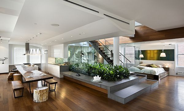 small loft, natural elements