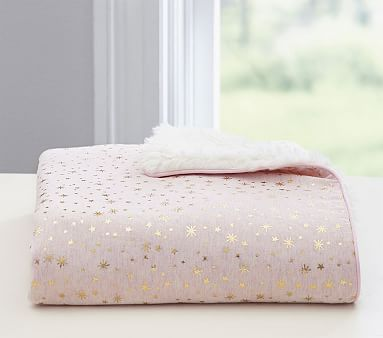 Metallic Star Sherpa Baby Blanket Products Pink Baby