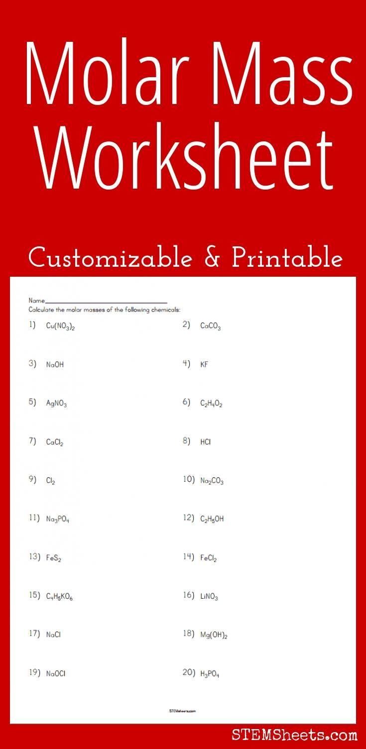 Molar Mass Worksheet   Chemistry worksheets [ 1505 x 735 Pixel ]