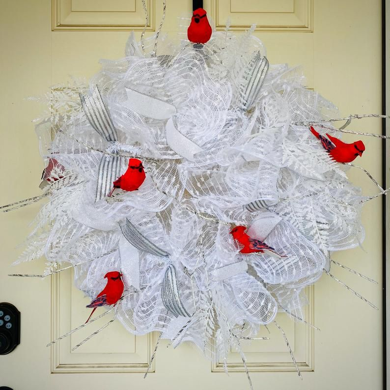 Photo of Cardinal wreath, winter wreath, front door wreath, cardinal decor, red cardinal, cardinal wreath, door wreath, winter decor, winter