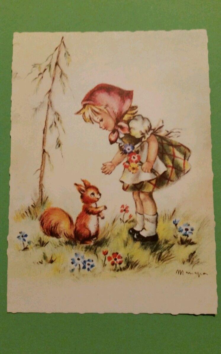 Ansichtskarte, Postkarte, Mädchen mit Eichhörnchen, Neu | eBay