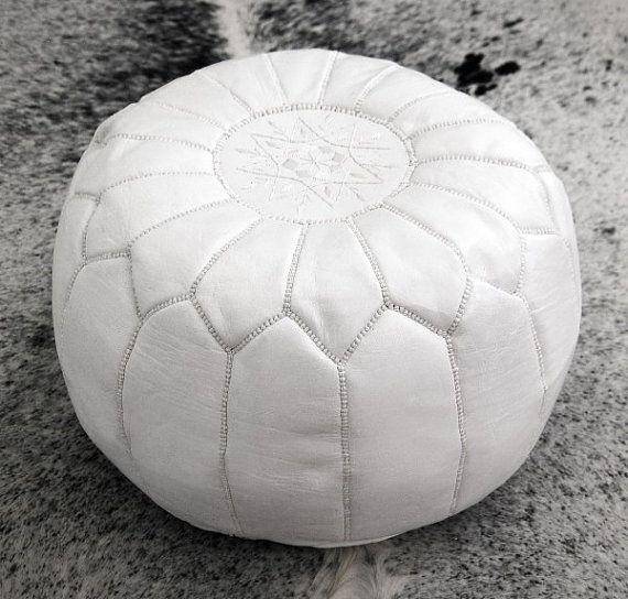 White Pouf Ottoman Set Of 2 Moroccan Leather Pouf Ottoman Poof Pouffefezart