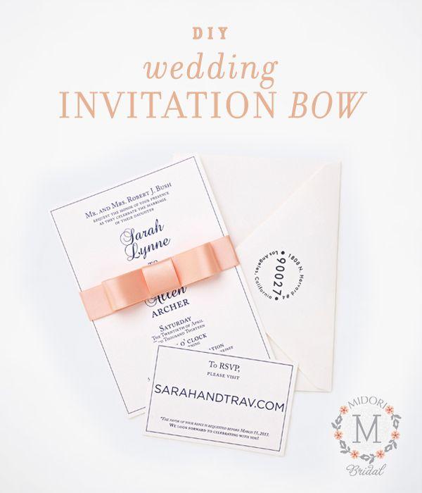 Diy Wedding Invitation Belly Band Ribbon Bow Wedding