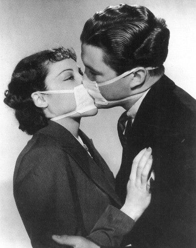 postcard - couple kissing with surgical masks - b40c4 (b&w… | Flickr