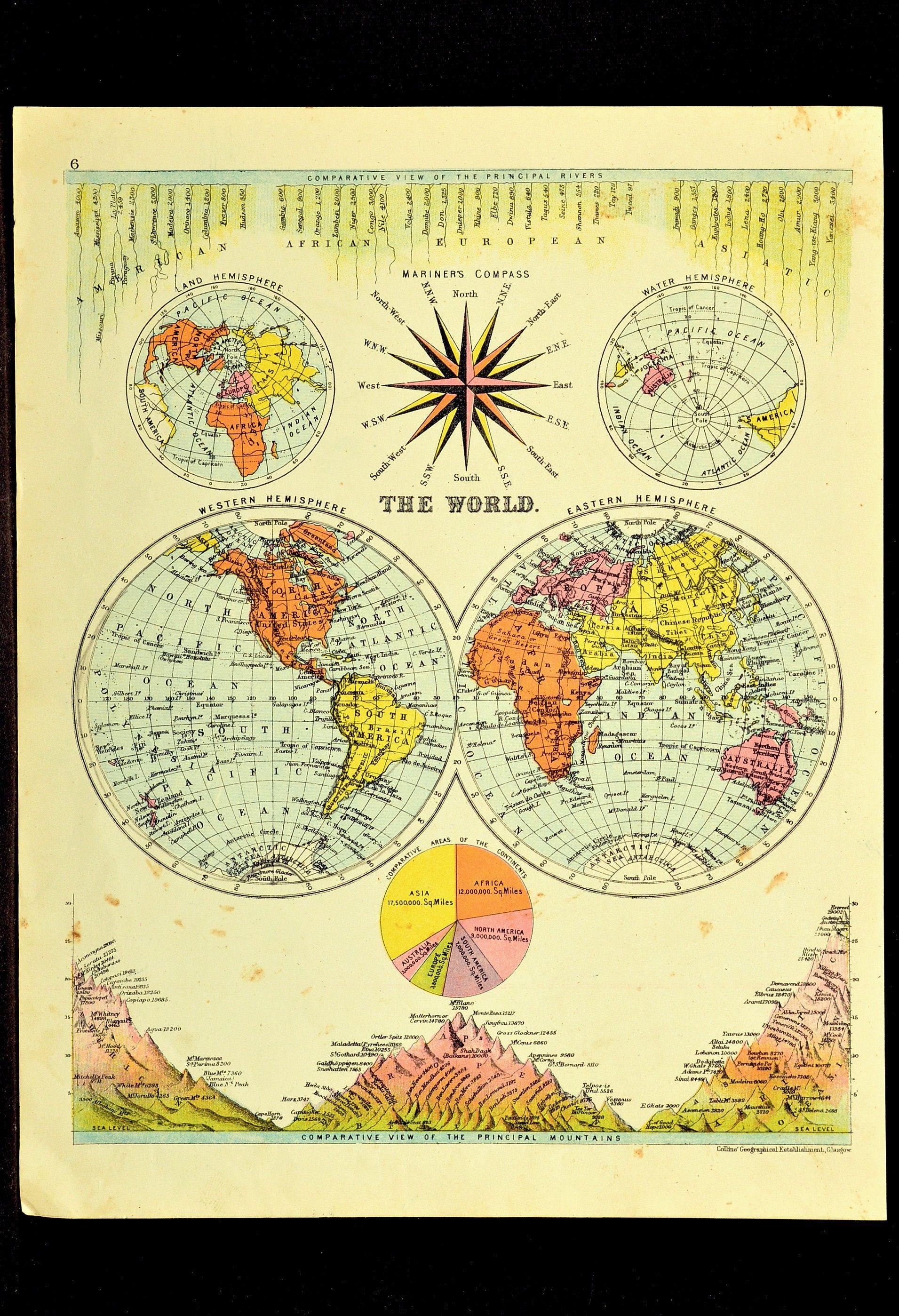 Hemisphere maps globe map eastern western world wall art