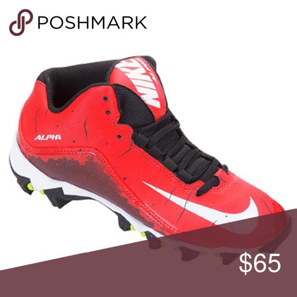 quality design 75f8a 3c86d Nike Alpha Shark 2 3 4 Football Cleats red WHT Blk New Men s Nike Alpha  Shark 2 3 4 Football Cleats University Colors Red white Black.