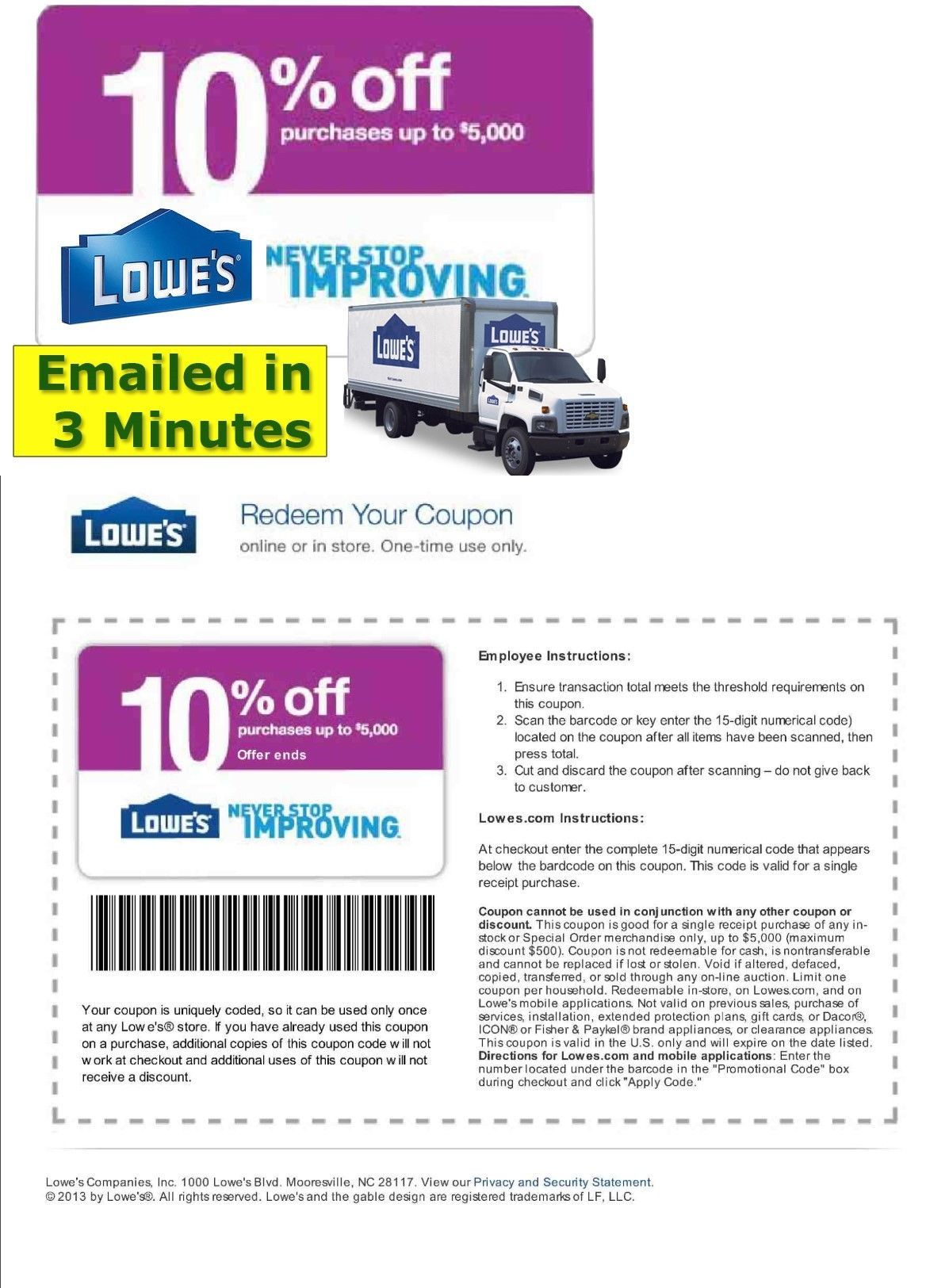 image about Lowes 10% Printable Coupon named Discount codes: (5X) 5 Lowes 10% Off Printable-Coupon Instantaneous E-mail