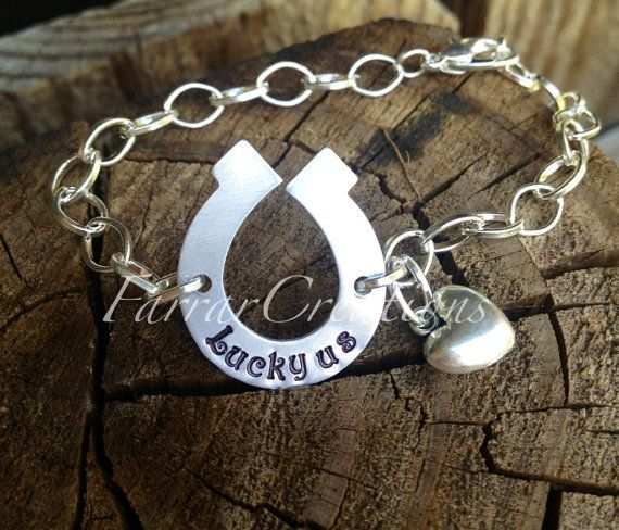 Lucky us Personalized Horseshoe Bracelet  hand by FarrarCreations, $28.00