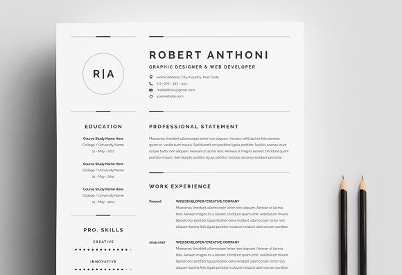 Resume Template Pages 3 Pages Clean Resumecv Templatewhitegraphic On