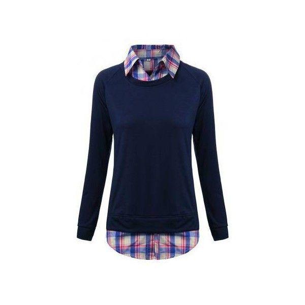 dcb76b9c63 Casual Women Fake Two-Piece Lapel Plaid Patchwork Irregular Sweater ...