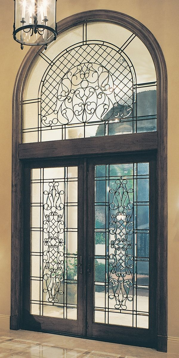 Leaded Beveled Glass Door And Transom Protected By Hurricane
