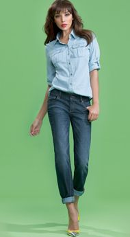 Spring Street Chambray Shirt with Slim Slouch Jean #NYStyle