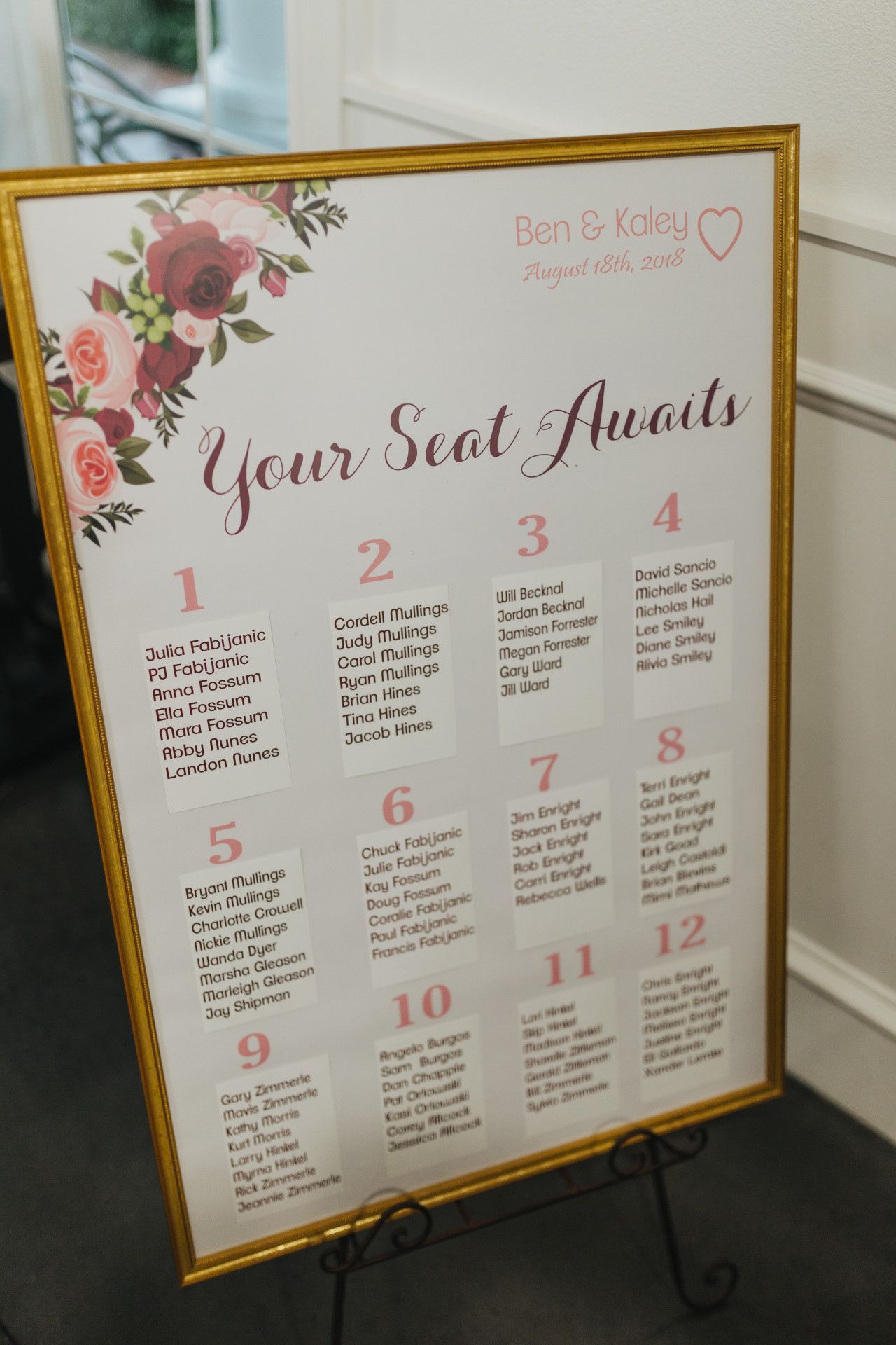 Maroon decor for wedding  wedding table seating sign  gold pink  maroon wedding decoration