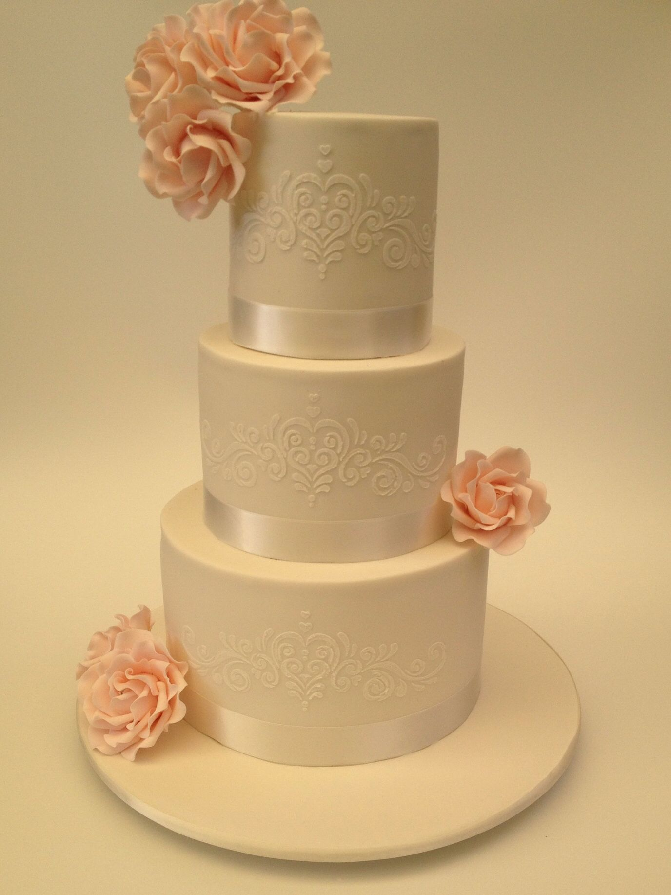 Three tier wedding cake by Vanilla Rose Cakery. | Wedding Desserts ...