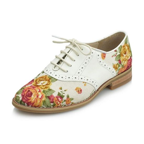 2014 Women High Quality Genuine Leather Oxfords Flat Shoes Floral Brogue Oxfords Shoes Ladies Printed Vintage Casual Flat $85.88