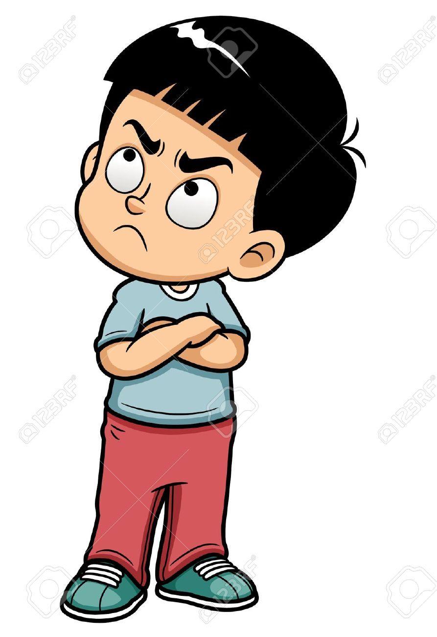 Cartoon Characters Looking Forward : Illustration of angry teenage boy stock vector