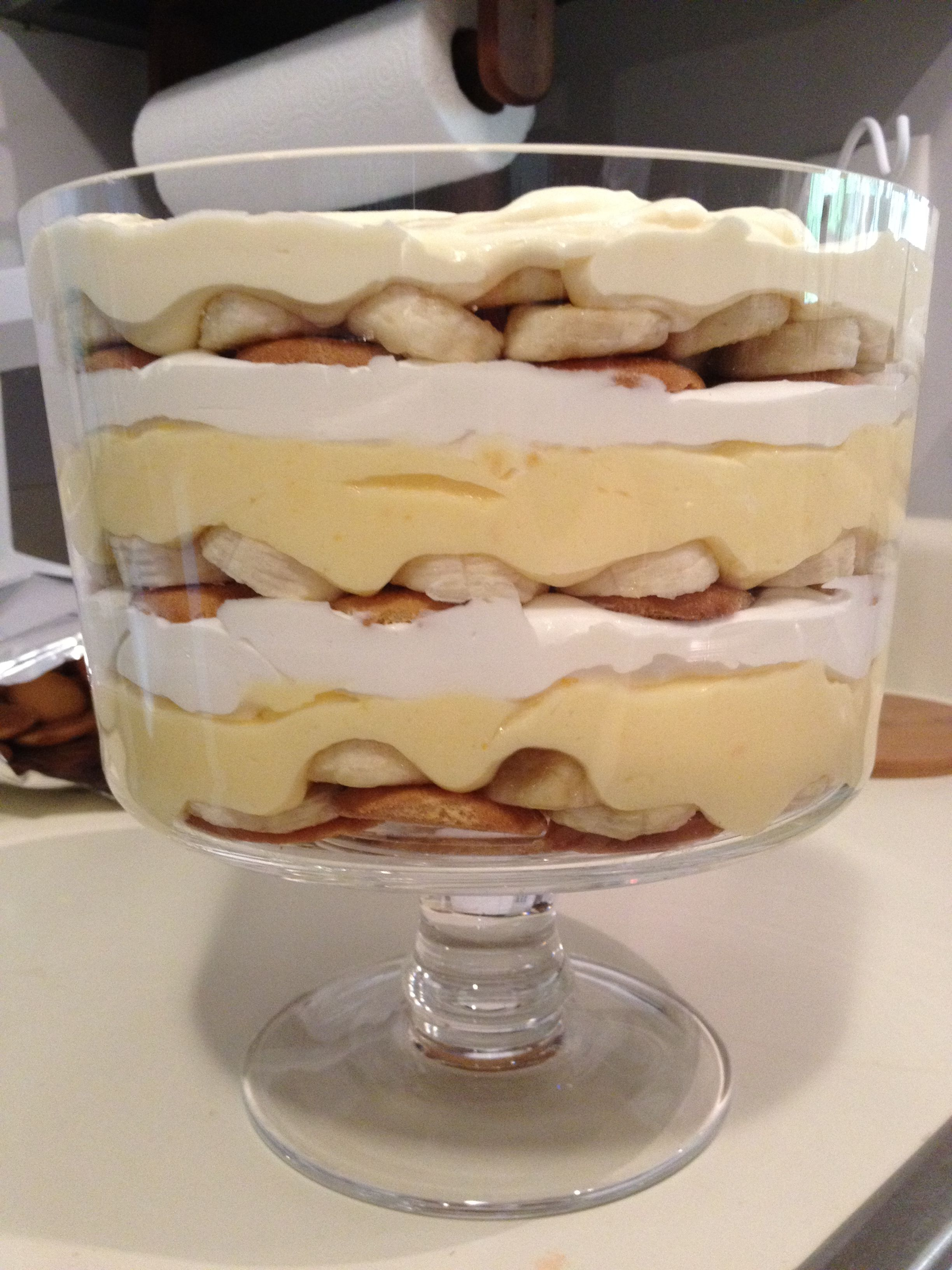 paula dean's banana pudding! I modified the recipe a little bit from the original. I layered vanilla wafers, bananas, pudding, cool whip. PUDDING LAYER: mix 2 sm boxes instant french vanilla pudding + 3 cups cold milk with hand mixer COOL WHIP LAYER: mix 8oz soft crm chz + 7-10oz swt condensed milk until smooth, then fold in 12oz thawed cool whip. Layer and garnish with dollop of cool whip, bananas, crushed wafers and serve chilled