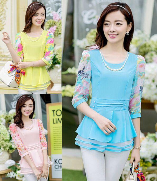 Elegant Women Slim Floral Chiffon Blouses 3/4 Sleeve Blouses Tunic Shirts
