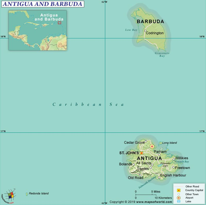 Large elevation map of Antigua and Barbuda with roads and ... |Terrain Map Antigua And Barbuda