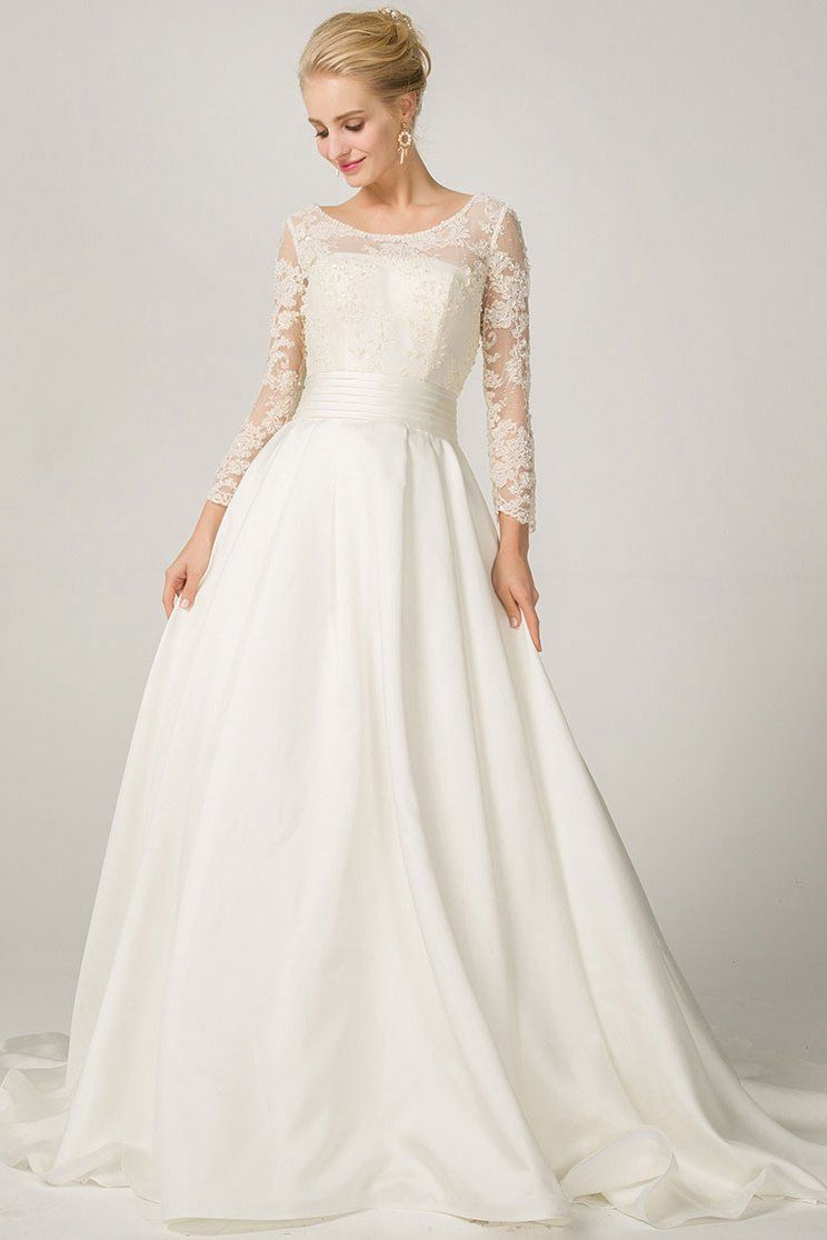 Aline long sleeves illusion neckline bridal wedding dresses with