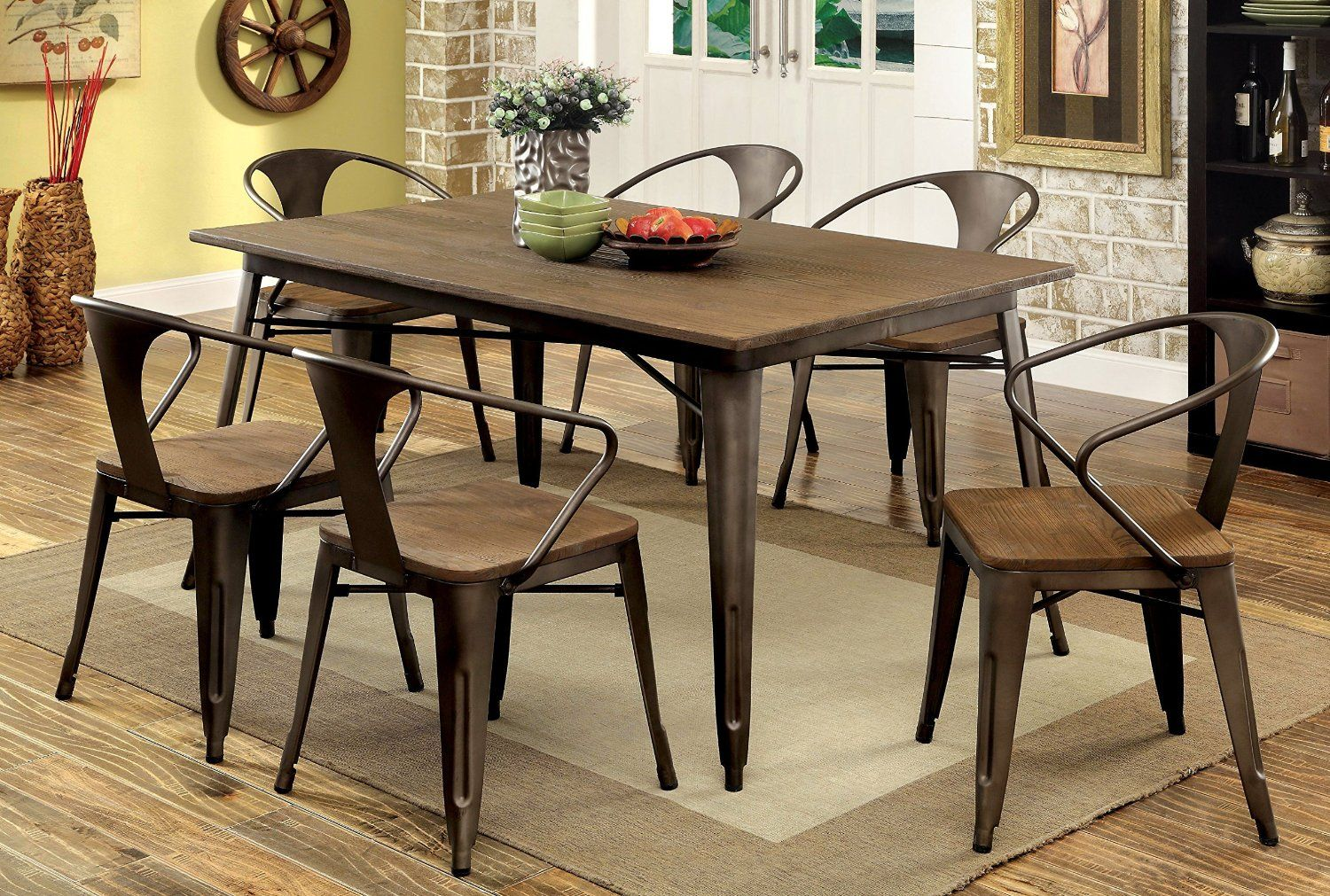 Industrial Style Kitchen Table Amazoncom Furniture Of America Cadiz 7 Piece Industrial Dining