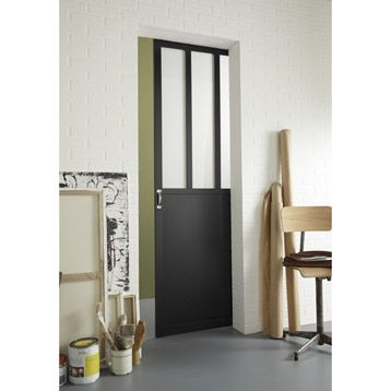 Porte Coulissante A Vitrer Atelier 204x73 Cm Leroy Merlin Porte Coulissante Decoration Maison Decoration Interieure