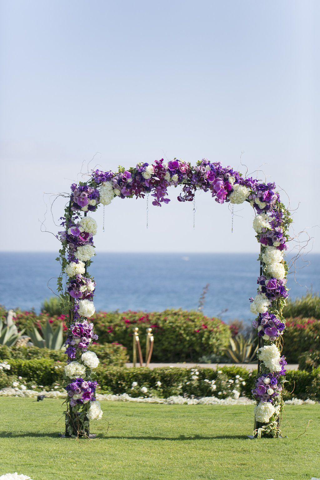 Wedding Ceremony Flower Arch Purple White Wedding Arch Orchids