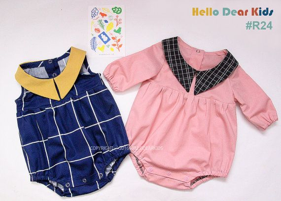 R24/ Sewing pattern / PDF sewing pattern / Romper with collar / Baby ...