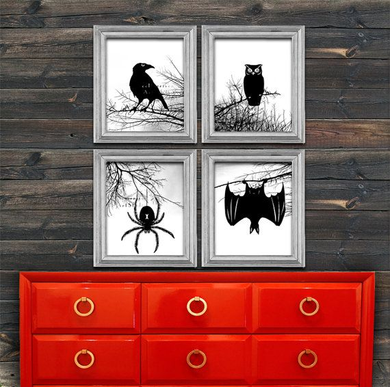 Halloween Decoration Spooky Forest Modern Print By