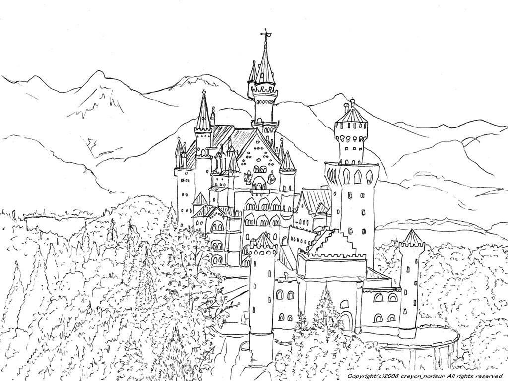 neuschwanstein germany line drawing around the world mini garden drawings castle places. Black Bedroom Furniture Sets. Home Design Ideas