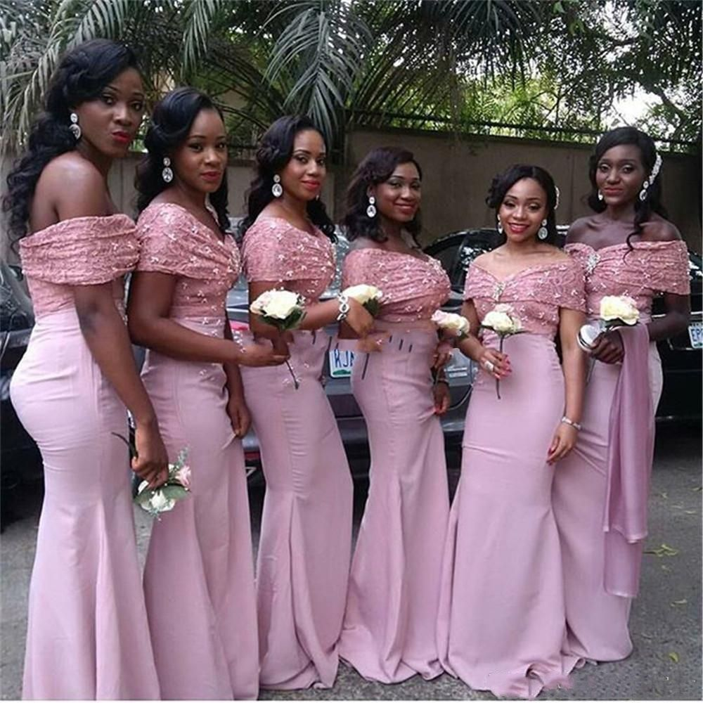 Elegant Lace Bridesmaid Dresses Nigerian Bellanaija Wedding Guest Dresses  Evening Party Dress Mermaid Bridesmaids Satin Off The Shoulder 50s Style ... 9c37377fd68b