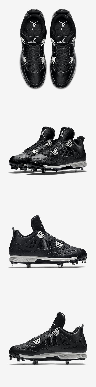 Mens 159059: Nike Air Jordan 4 Iv Retro Metal Baseball Cleats Oreo Black  9.5 (