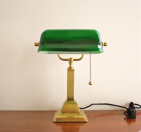 Vintage bankers lamp with a brass base and green glass ...