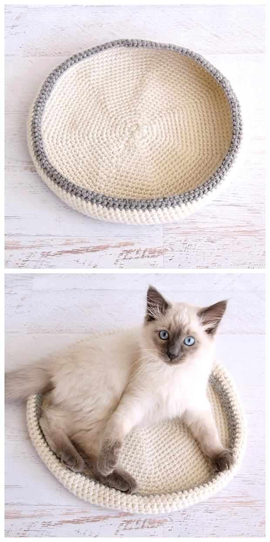 Crocheted Cat Bed   Pinterest   Puntos crochet, Ganchillo y Tejido