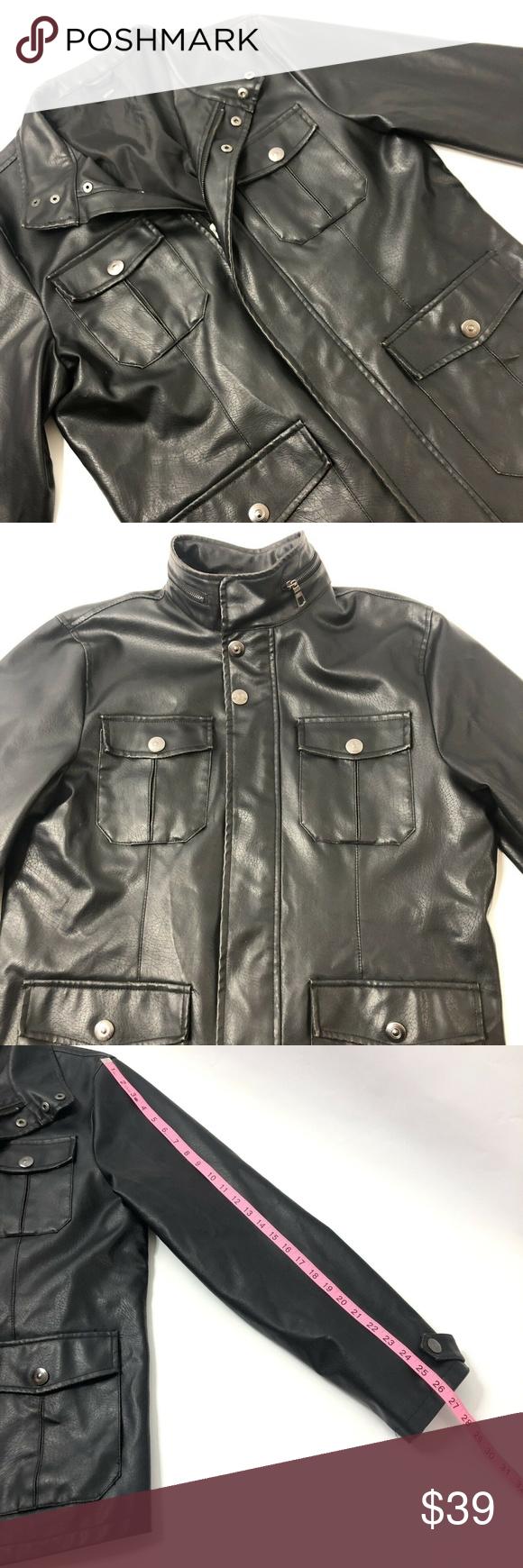 J Ferrar Mens Black Vegan Faux Leather Jacket Med Faux Leather Jackets Leather Jacket Jackets