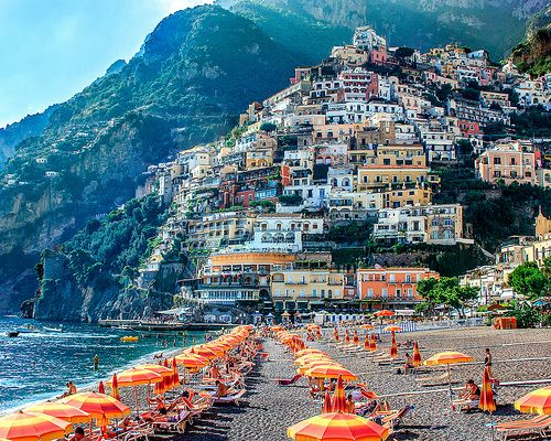 Beautiful Positano Italy Beach With Orange Umbrellas