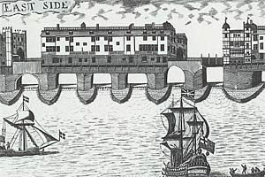 London Bridge from the early 18th century, around 1710 showing both the South Gate and Nonsuch House