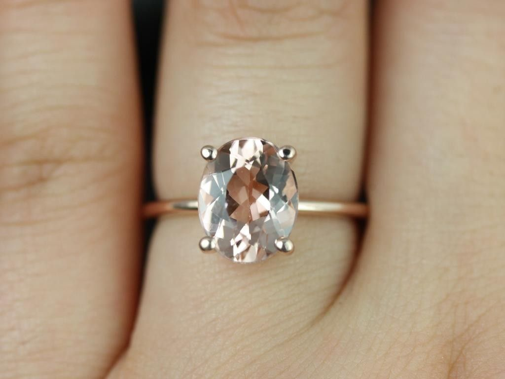 classic wedding rings Rosados Box Dani Rose Gold Thin Oval Morganite Classic Plain Engagement Ring