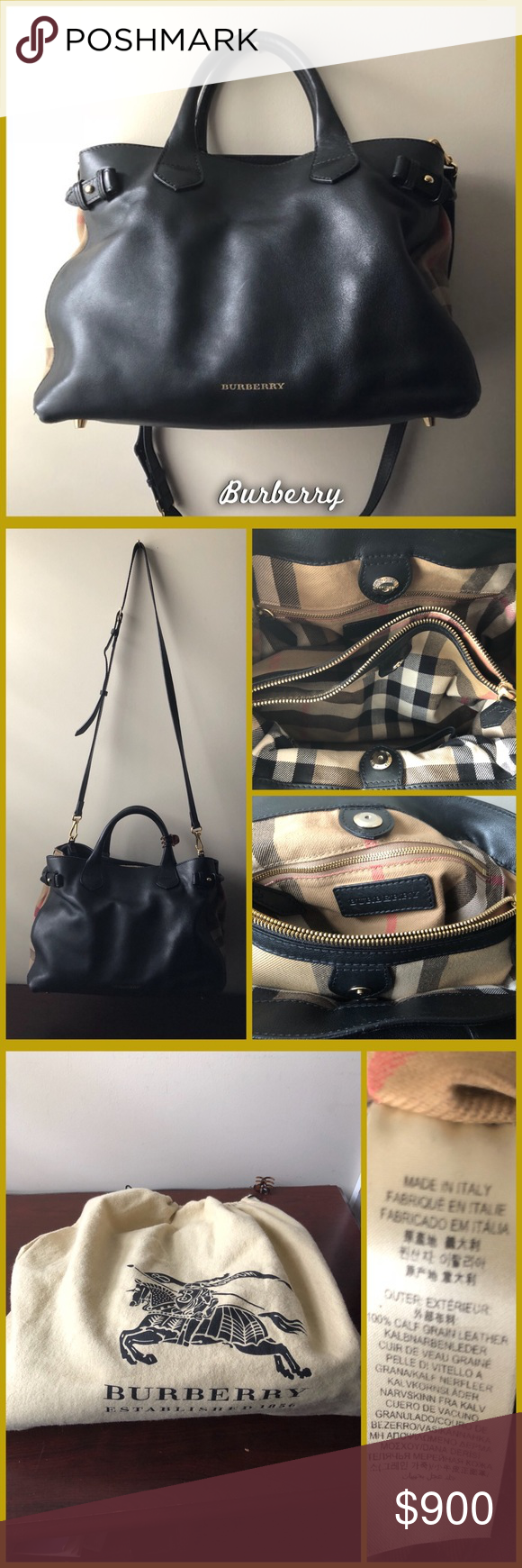0e8706cd836 Burberry Banner Bag Medium Authentic Burberry Banner House check leather  tote in very gently loved condition, with no scratches or marks on the  leather.